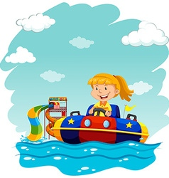 Girl riding on rubber boat vector