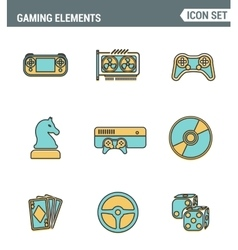 Icons line set premium quality of classic game vector