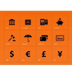 Banking icons on orange background vector