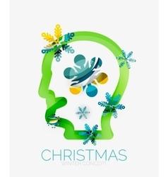 Christmas head concept modern holiday user design vector