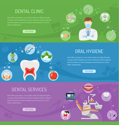 dental services horizontal banners vector image vector image