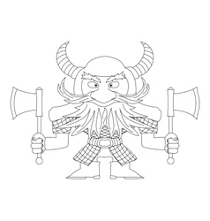 Dwarf warrior contour vector image