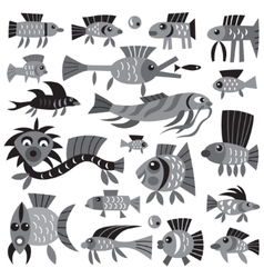 fishes - cartoons set vector image