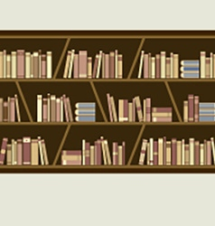 Flat design brown bookshelf vector