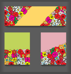 flowers pattern cards vector image vector image