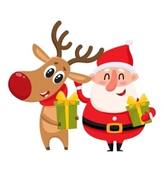 Funny Santa Claus and reindeer holding Christmas vector image vector image