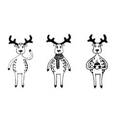 Funny sketch deers set vector image