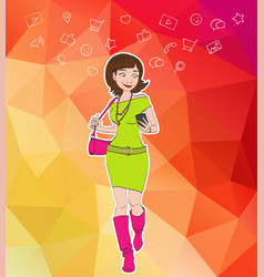 Girl looking at notification on mobile phone vector