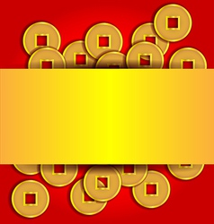 Gold coins abstract background for chinese new vector