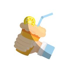 Hand holding milk shake orange juice straw vector