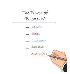 hand writing the power of brand vector image vector image