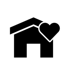 house and heart cartoon icon vector image