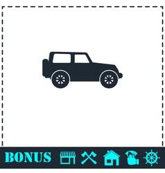Jeep travel icon flat vector