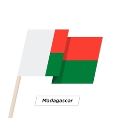 Madagascar Ribbon Waving Flag Isolated on White vector image