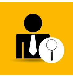 Man silhouette business and searching design icon vector
