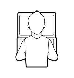 man sitting back and working on the computer vector image