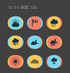 Meteorology icons set collection of sun sun vector