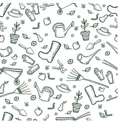 Monochrome funny garden seamless pattern dark vector