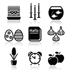 Nowruz - Persian New Year icons set vector image