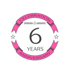 Realistic six years anniversary celebration logo vector