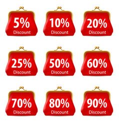 Red purse with discount on white background for vector