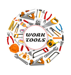 Repair construction work tools poster vector