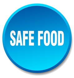 Safe food blue round flat isolated push button vector