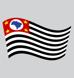 Sao paulo brazil state flag wavy gray background vector