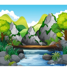 Scene with mountains and river vector image
