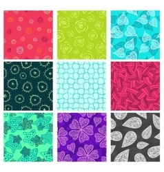 Seamless doodle patterns set vector image vector image