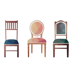 Set of colorful retro chairs vector