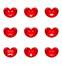 Set of smiles of heart shape with many emotions vector