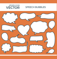 sketched speech bubbles with editable stroke vector image