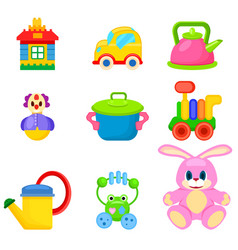 Soft and plastic toys for kids set vector