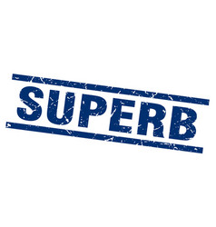 Square grunge blue superb stamp vector