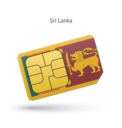 Sri Lanka mobile phone sim card with flag vector image