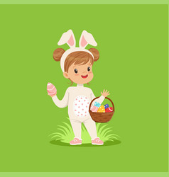 sweet little girl with bunny ears and rabbit vector image
