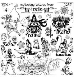 Tattoo art design of lord rama ravana and hanuman vector