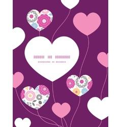 Vibrant floral scaterred heart symbol frame vector