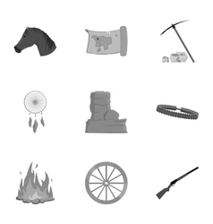 Wild west set icons in monochrome style big vector
