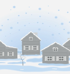 winter landscape with wooden houses vector image