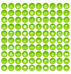 100 helmet icons set green circle vector
