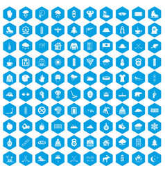 100 winter sport icons set blue vector