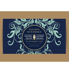 Navy blue wedding card vector