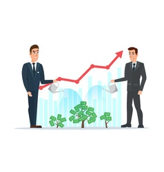 Businessman water the plants with the money graph vector