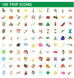 100 trip icons set cartoon style vector image