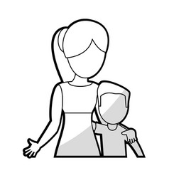 Mother embrace son lovely vector