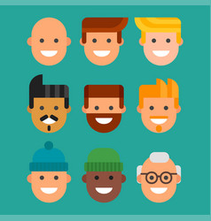 Men head portrait different nationality friendship vector