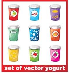 Set of yogurt vector