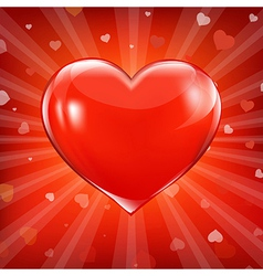 Red heart and background with beams vector